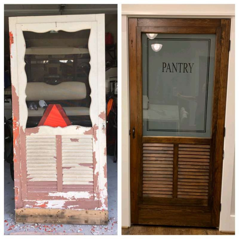 Old screen door converted into refurbished pantry entry